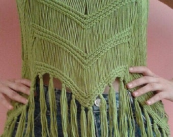 Green knitted tank top / camisole with fringe - From Thailand