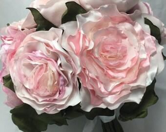 Handmade Wedding Bouquet, Fabric Peony Handmade Heirloom Wedding Handtied Bouquet