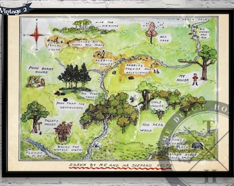 Winnie The Pooh Nursery Art– The Hundred Acre Woods Vintage Map– E.H. Shepard Art Print – 100 Acre Wood– Christopher Robbin– CANVAS PRINT