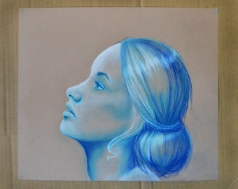 looking up - woman in blue and white - original