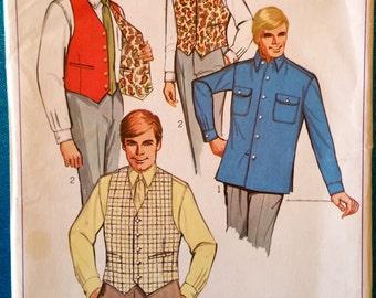 "Vintage men's shirt & reversible vest waistcoat sewing pattern - Simplicity 7973 - size 36"" chest - 14.5"" neck - 1960's"