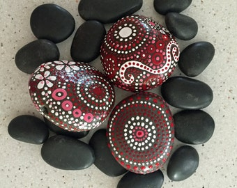 Rock Art, Painted Rock, Rock Art, Mandala Inspired Design, Natural Home Decor, One-of-a-Kind Gift, red touch collection Trio #10