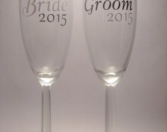 Set of 2 Bride & Groom Personalized Wine Glasses