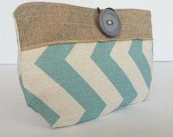 Blue and White chevron Small button pouch