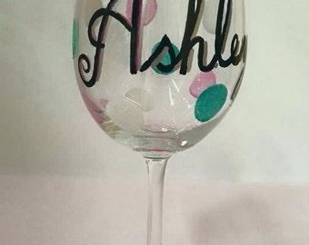 Personalized Polka Dot Wine Glass
