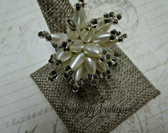 Repurposed Vintage Jewelry, Faux Pearl Starburst Ring, Recycled, Upcycled, Wedding, Formal, Bridal  (8)