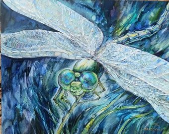 Art original oil painting  Dragonfly