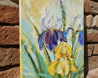 Art original oil painting Flowers iris