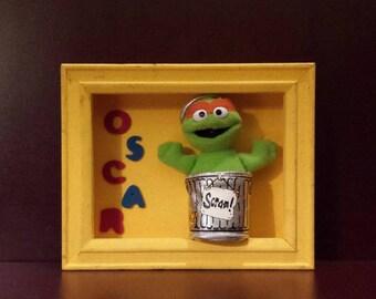 Sesame Street Hand made Shadow Box * OSCAR *