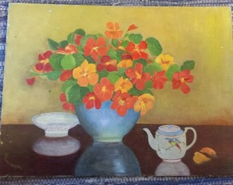 Original Primitive Nasturtium Painting