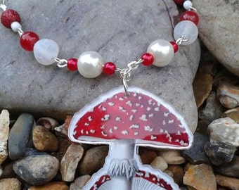 Toadstool laser cut charm necklace. Toadstool necklace. Alice in wonderland necklace
