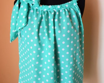 BOHO with a Bow- Green with White Polka Dots- Small