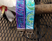 Key Fob Wristlet - Cool Colored Paisley