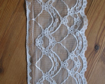 "Extra Wide Vintage 80's Lace Cream, 5"" Wide Lace Trim, Wedding Lace"