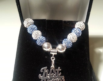 Sterling Silver Just Pray Pendant with Blue and White Crystals