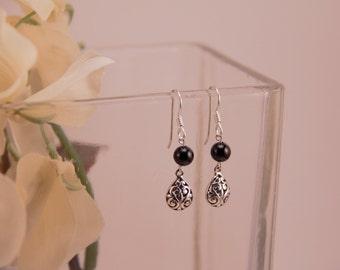 Sterling silver filigree and black onyx earrings