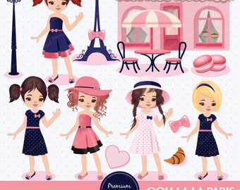 Paris clipart, Paris Girls Clipart, Paris Theme Party, Eiffel Tower Clipart, Digital Clipart - CA147