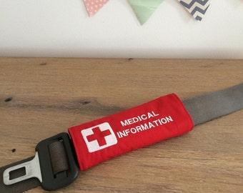 Medical Information Seat Belt Cover
