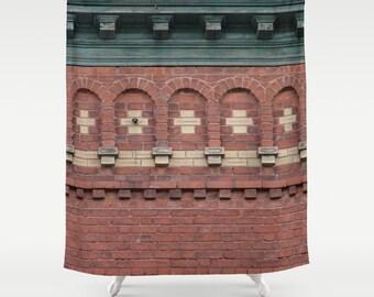 Brick Facade,Shower Curtain,Red,Rustic,Architectural Curtain,Bathroom Decor,Accessories,Bathroom Art,Designer Shower Curtain,Interior Design