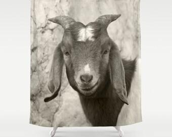 Smiling Goat, Shower Curtain,Black White,Animal Curtain,BathCurtain,Bathroom Decor,Accessories,Bathroom Art,Designer Curtain,Interior Design