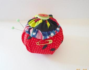 Watermelon YO YO Pincushion. Red Fabric with Matching Button.