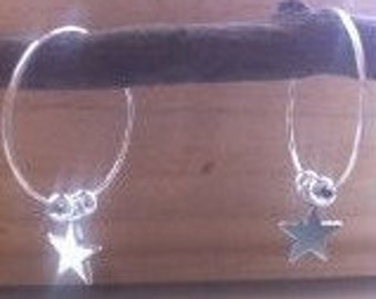 Handmade Star Silver Hoop Earrings