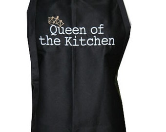 Queen of the Kitchen with Crown (Adult Apron) in various colors