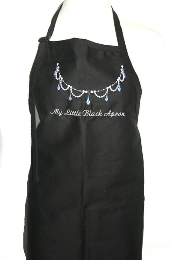 My Little Black Apron with a necklace (Adult Apron)