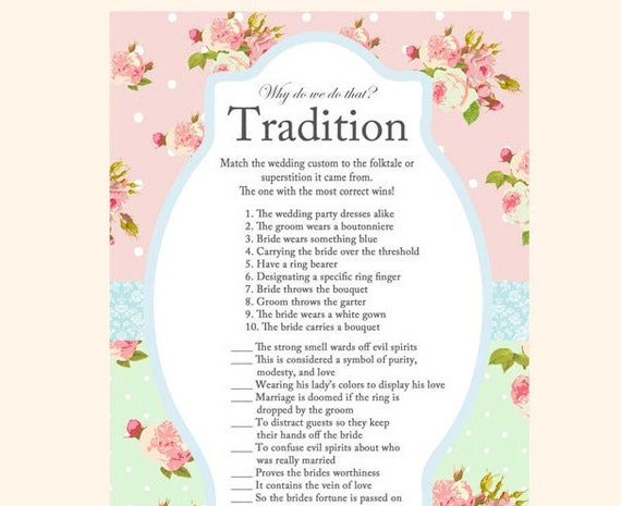 why do we do that tradition game wedding tradition game mint rose