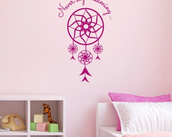 Never Stop Dreaming Dream Catcher Wall Sticker - Dreamcatcher Bedroom Decal