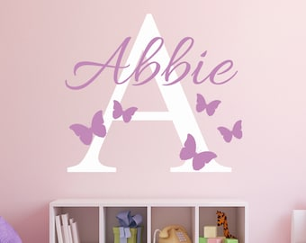 Custom Name Wall Decal - Butterflies Wall Decal - Girl Custom Name Decal - Baby Room Decor - Nursery Wall Decals Vinyl