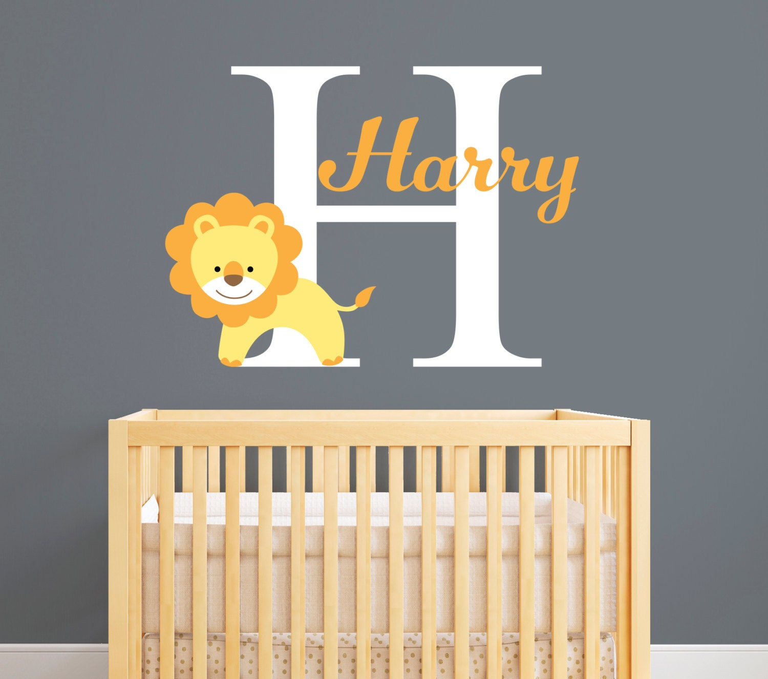 Personalized Name Wall Decal - Lion Wall Decal - Custom Lion Baby ...