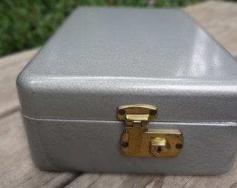 70's Gray Metal Office Lock Box