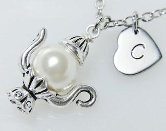 Teapot Necklace, Personalized Necklace, Teapot Charm Necklace, Tea Lover Necklace, Monogram Necklace, Tea Party Gift