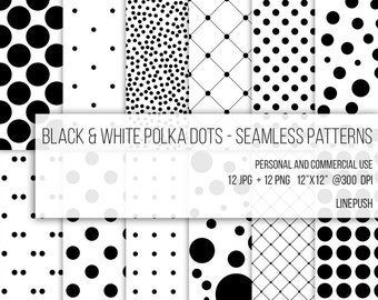 SALE! Black & White Polka dots Patterns. Seamless Paper. Digital Paper BW Net Abstract circles Classic dots. Scrapbooking supplies Scrapbook
