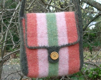 Stripey Adjustable Felted Shoulder Bag