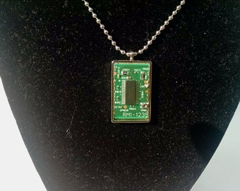 Rectangle Shaped Circuit Board Necklace Pendant