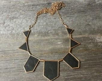 Unique Vintage Necklace-Gold Tone Metal w/ Leather(?)