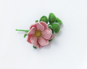 Brooch pink rose.