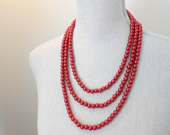 Triple strand red glass beads ~ unique for wedding, Bridesmaid Gifts, Mother of the groom, Bridal shower, Birthday, Mum jewelry