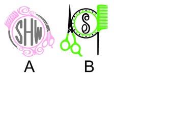 Hair Stylist Scissors Comb Personalized Monogram Sticker Vinyl Decal