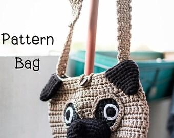 Crochet bag pattern : Pug Cross Body Bag
