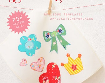 PDF Applique Templates - Heart, Flower, Bow, Crown