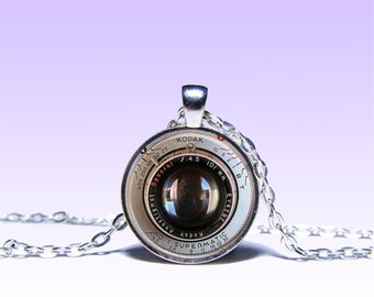 Vintage Camera Lens Pendant Foto NECKLACE Black Jewelery Charm Pendant for Him or Her