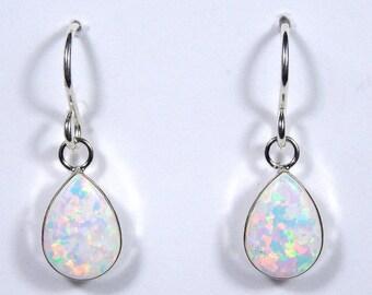 7x10mm Teardrop White Fire Opal Genuine 925 Sterling Silver Dangling Earrings - Made In USA
