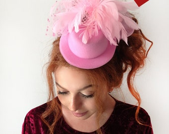 "Pink Mini Top Hat -""Michelle"" Pink Felt Mini Top Hat Headband Pink Netting and Feather Embellishments"