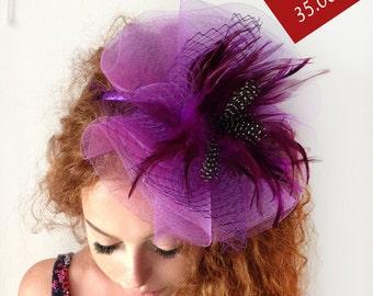 Purple Fascinator - Purple Wedding Fascinator Hat, Tea Party Hat - Kentucky Derby Hat - British Hat Fascinator Headband - Costume Hat