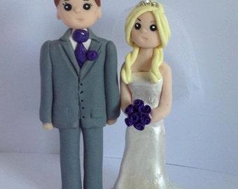 "Wedding cake topper - personalised bride and groom -. custom made figures - keepsake approx 4.5"" tall"