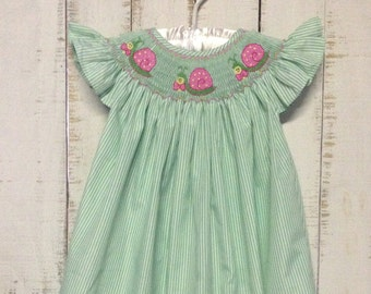 Smocked Snail Bishop dress, Smocked Girls Dress, Smocked Dress