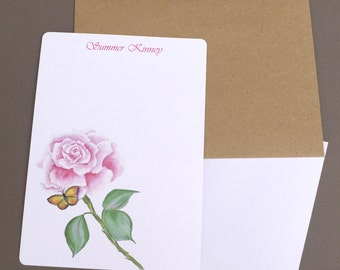 Personalized Stationary Set, Custom Stationery, Flat Note Cards, Writing Paper, Letter, Paper, Note, Pink Rose & Butterfly, Garden, Nature